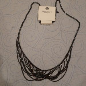 AE NWT long drape necklace in black & opaque stone
